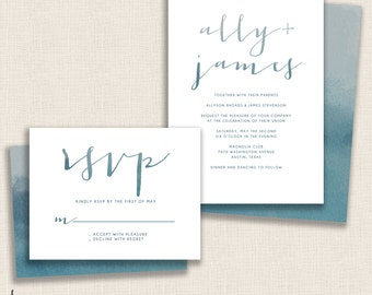 DEEP BLUE - DIY Printable Wedding Set - Invitation and Reply Card - Painted Watercolor - Double Sided