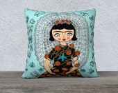 Pillow Case - Frida butterfly - Frida Kahlo - Frida cest moi - illustration - blue - Velveteen