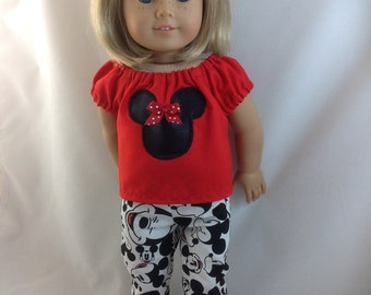 American Girl Doll  Mickey Mouse Slacks, Skinny Pants  Minnie Mouse Blouse Red High Top Shoes Disneyland Disney World  w/  Ears  FREE Hanger
