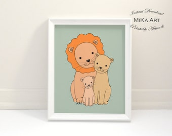 Lion Nursery Art Print Download Printable Nursery Wall Art Lion Family Dad Mom Baby Animal Nursery Decor Kids Print Cute Safari Nursery Art