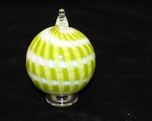 Lime Green Hand Blown Glass Christmas Ornament Holiday Decoration With White Spiral Body Wrap