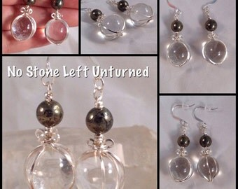 Natural clear Quartz spheres with Pyrite, crystal balls earrings