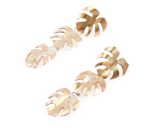 Split Leaf Monstera Philodendron Kinetic Dangle Stud Earrings in Brass