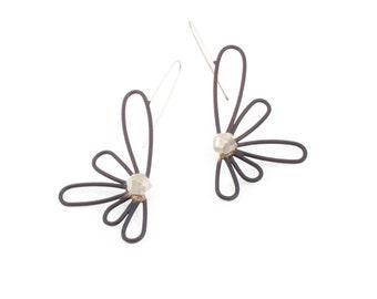 Linear Petal Dangle Earrings in Sterling Silver and Black Powder Coated Brass
