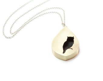 Owl Silhouette Large Teardrop Shadowbox Pendant Necklace in Brass with Sterling Silver Chain - Other Animals Also Available
