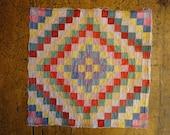 Old Quilt Piece | Antique Quilt Piece | Vintage Quilt Piece | Trip Around The World Quilt Piece