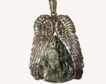 Handmade Angel Wing Seraphinite Druzy Pendant - Big Statement Piece in Solid Silver, Genuine Natural Mined Gemstone