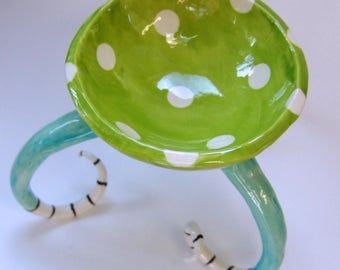 Alice in Wonderland fresh turquoise and lime ceramic bowl w/ Beetlejuice black & white striped curly feet :) colorful pottery candy dish