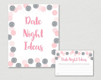 Blush Pink & Silver Date Night Ideas / Bridal Shower Date Night Ideas Game / Glitter Dots / Confetti / Printable INSTANT DOWNLOAD B111