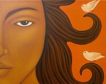 Sun Goddess Portrait Original Painting - Mexican Wall Art Home Decor by Tamara Adams