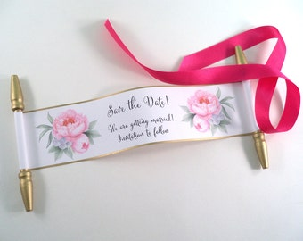 Save the date mini scrolls with pink peonies and gold accents, set of 12
