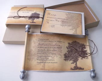 Bar Mitzvah boxed scroll invitation suite with vintage oak tree, set of 25 suites