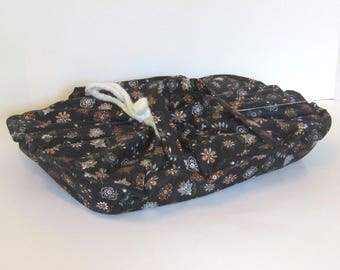 Casserole Carrier, 9X13, Large, Oval, Insulated, Hot or Cold Foods, Black , Medallions, Blue, Rust , Bridal Gift , Mother's Day ,