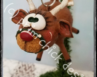 REINDEER ORNAMENT original hand painted green sculpted Christmas prim chick designs lisa robinson ofg teamhaha
