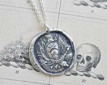 skull and crossbones wax seal necklace - death or glory - the 17th Light Dragoons Lancers regiment - antique British wax seal jewelry