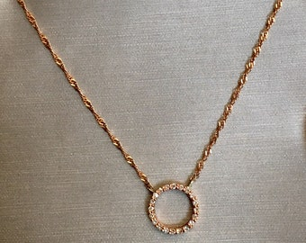 Roses are pink 14K rose gold diamond pave circle of life harmony fertility rose gold necklace jewelry chain jewellery