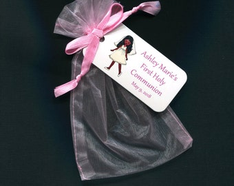 Personalized First Communion Favor Bags - First Communion Tags - Personalized Tags - Girls - Pink Organza Bags - 4 X 6 Organza Bag