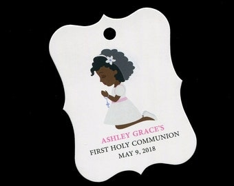 First Communion Tags - First Holy Communion Favor Tags - Personalized - Girls Communion Tags - Pink