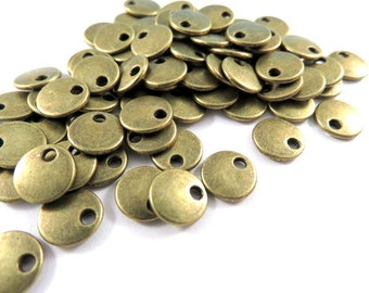 50 Flat Round Drop 8mm Antique Bronze LF/NF - 50 pc - M7040-AB50