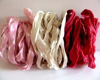 Silk Sari Ribbon, Pink, Antique White, Red Recycled Sari Ribbon, 9 Yards