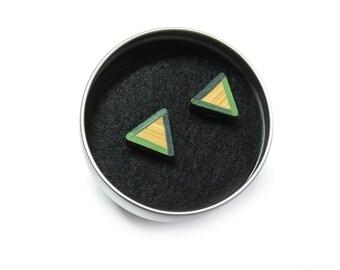 Geometric Earrings, Green Triangle Earrings, Geometric Studs, Green Earrings, Eco Bamboo Gifts, Gifts For Her, Eco Jewellery