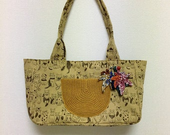 Fabric Shoulder Bag / Tote Bag --- Cat Cat Cat - Moca