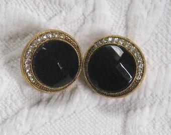 Mourning Earrings . black Earrings . Black Glass and Rhinestone Earrings
