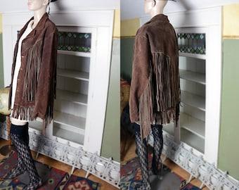Vintage 60's 70's genuine suede jacket, long fringe, brown suede, brown leather, men's fringe jacket, unisex, western, southwestern, Mexican