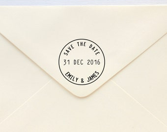Save The Date Stamp - Circle Postage - Rubber Stamp or Self-inking Stamp