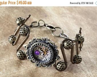 HAPPY HOLIDAYS SALE - Steampunk Jewelry - Bracelet - antique watch movement and Heliotrope swarovski crystal