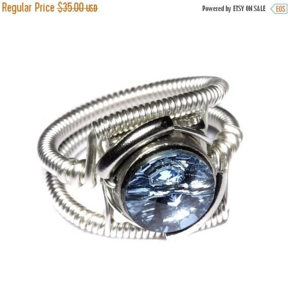 CYBER WEEK SALE - Cyberpunk Jewelry - Ring - Aquamarine Swarovski Crystal