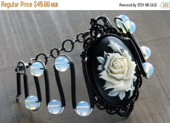 HAPPY HOLIDAYS SALE - Gothic Chic Bracelet - Black and Ivory rose Cameo - Opalite Moonstone