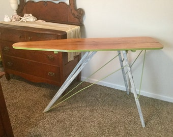 Antique 1920's Ironing Board Jadite Green Refirbished Sofa Console Table Plant Stand