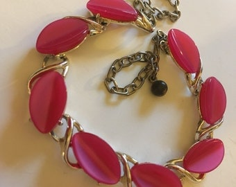 Vintage Hot Pink Thermoset Choker Necklace
