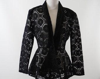 Vintage 1980s Black Lace Peplum Jacket B40 W28