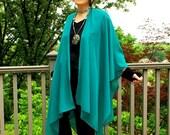 Dark Aqua or Teal Lightweight Chiffon Ruana, Shawl, Cape, Beach Coverup or Wrap--One Size Fits Most Gypsies