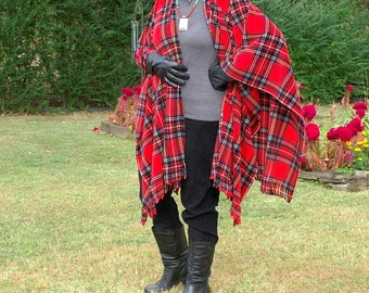 Red Stewart Plaid Anti Pill Fleece Wrap, Shawl, Poncho or Blanket Scarf with Fringe--One Size