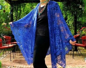 Royal Blue Lace Ruana, Shawl, Poncho, Party Cape, Wrap, Caftan, Kimono, or Coverup--Sheer and Elegant--One Size Fits Most Gypsies