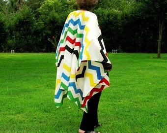 Bohemian  Shawl, Cape, Wrap, Caftan, Beach Coverup or Ruana--Tribal Chevron Design--Lightweight, Smart and Showy--One Size Fits Most Gypsies