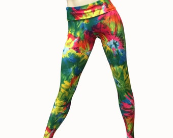 Yoga Pants - Workout Clothes - Hot Yoga - Fitness - Tie Dye - Tie Dye Pants- High Waist Pant - Fold Over - Legging - SXY Fitness - USA -