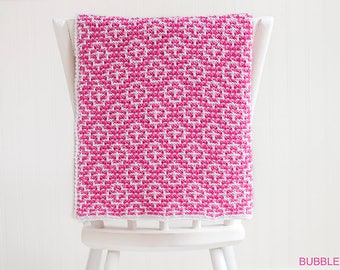 Mosaic Stitch Baby Blanket, Crib Blanket, Pink And White,  READY TO SHIP Newborn Photo Prop