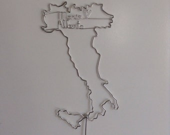 Italy Map Wedding Cake Topper PERSONALIZED