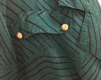 Teal Stripe Blouse Style Summer Jacket Vintage 1980's