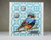 Handmade Inspirational Greeting Card, Bird with Crown