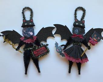 Schipperke BAT Halloween ornaments DOG ornaments vintage style chenille ORNAMENTS set of 2