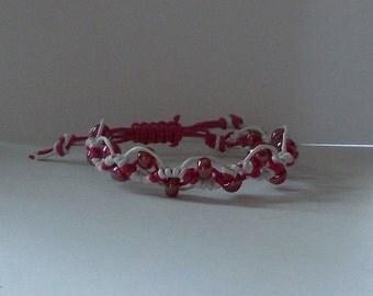 Mikrama Armband Makramee pink weiß