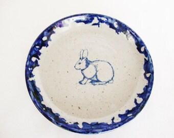 vintage bunny rabbit plate bastine pottery blue spongeware 1980s