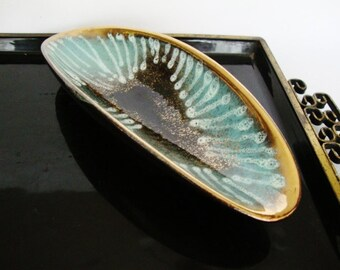 vintage ceramic bowl midcentury teal and black trinket dish