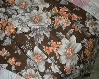 Vintage Drapes, Brown, Orange, Grey and Tan, Circa 1960's  Pinch Pleated