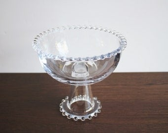 Vintage candlewick clear glass  pedestal serving bowl